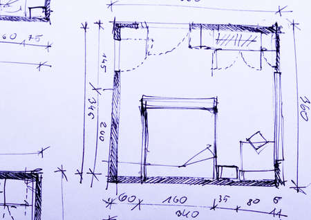 architectural: Close up of a blueprint Stock Photo