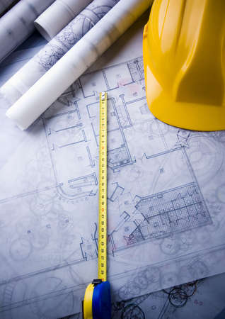 centimetre: House plan blueprints Stock Photo