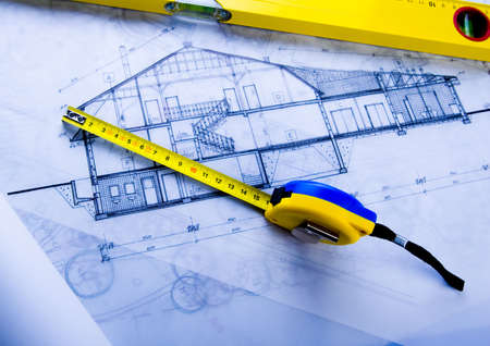 home renovations: House plan blueprints Stock Photo