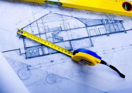 House plan blueprints Stock Photo