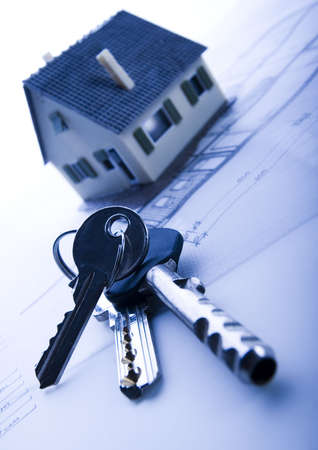 metre: House plan blueprints Stock Photo