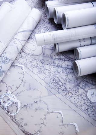 metre: Architectural plans     Stock Photo