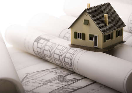 house renovation: Close up of a blueprint Stock Photo