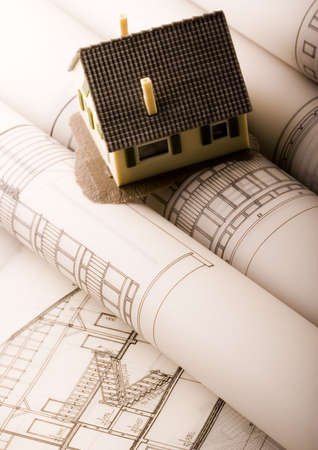 House blueprints close up photo