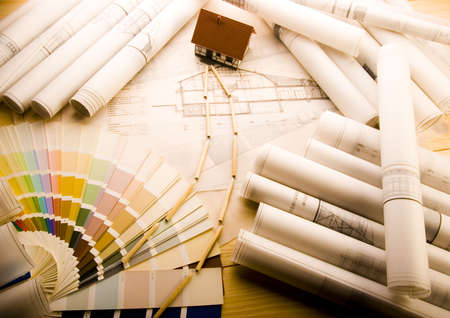Architecture planning of interiors design on paper Stock Photo - 2624841