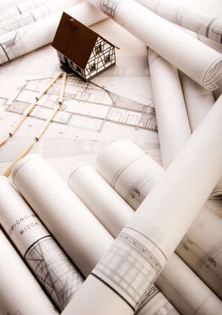 Architecture planning of interiors designe on paper  photo