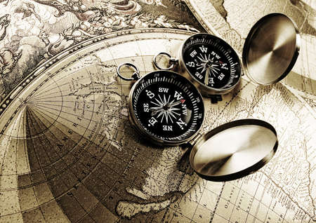 Compass & Old map   Stock Photo