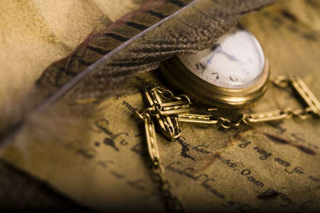 collectable: Paper & Old watch   Stock Photo