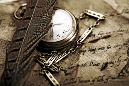 old watch: Paper & Old watch