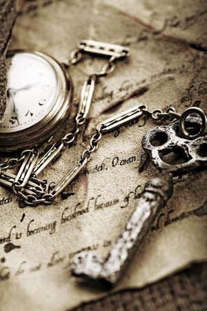 fond: Clock & Ancient manuscript