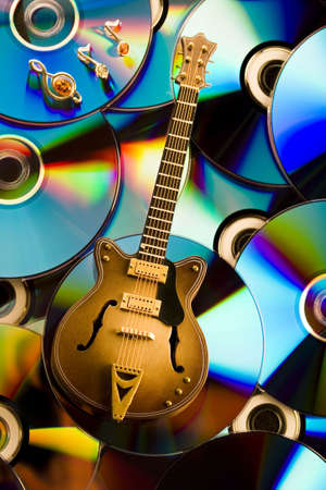 discs: Discs and guitar  Stock Photo