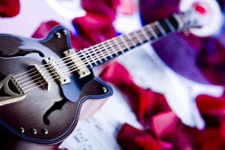 Guitar & Petals of rose  Reklamní fotografie