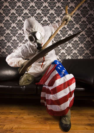 freak: American flag & Freak in the mask Stock Photo