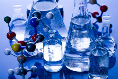 Blue chemistry vials Stock Photo - 4613558
