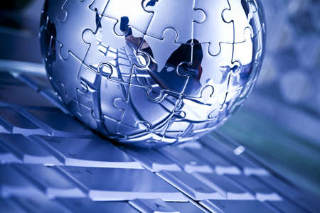 Notebook & puzzle earth globe Stock Photo - 5093845
