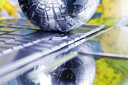 travel features: Chrome globe Stock Photo