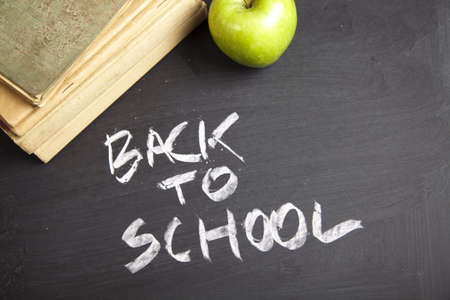 inscription: Inscription on a school chalkboard - back to school