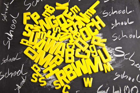 Alphabet and letters on a school blackboard  photo