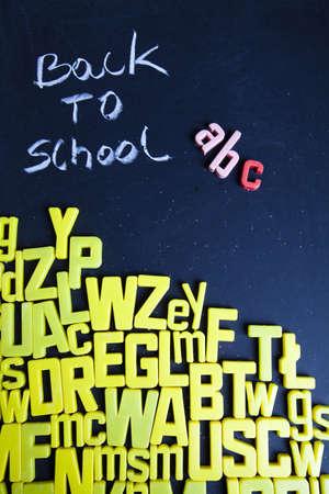 Back to school - inscription on blackboard  photo