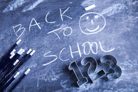 Inscription on a school chalkboard - back to school Stock Photo - 5428537