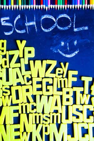Pencils, alphabet and school Stock Photo - 5419277