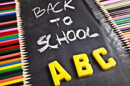 Colour pencils, alphabet and back to school   photo