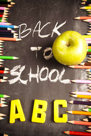 Inscription - back to school & Colour pencils photo