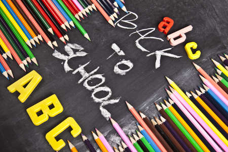 Colour pencils & Chalkboard photo