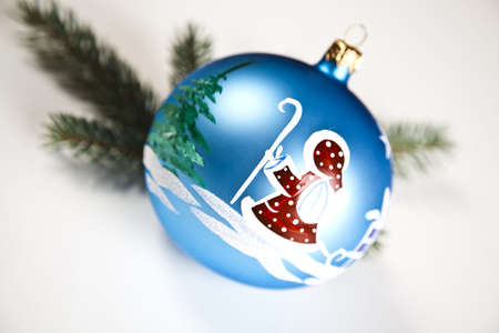 Blue Christmas bauble with ornament of Santa Claus Stock Photo - 5418203