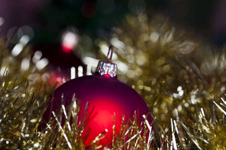Red satin Christmas bauble Stock Photo - 5418205