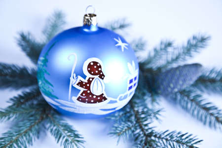 Santa Claus & Blue Christmas Bauble    photo