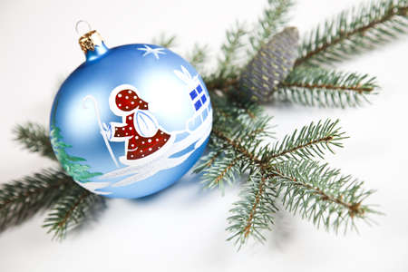 Christmas spruce, Santa Claus and Bauble photo
