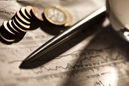 credit union: Euro coins and business indicators