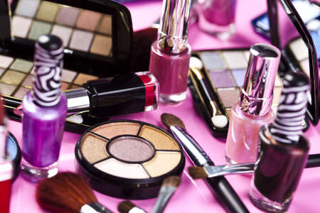 make up products: Collection of makeup products Stock Photo