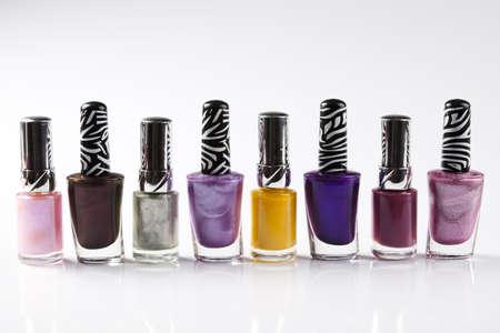Cosmetic, nail polish, white background, isolated object  photo