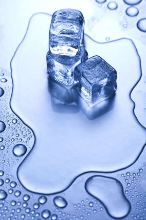 melting: Crystals ice cubes Stock Photo