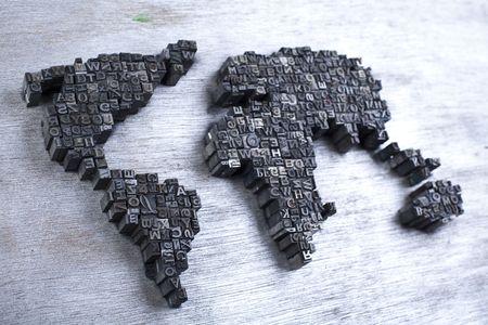 World map  & Printers blocks Stock Photo - 6333772