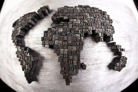 World map  & Printers blocks Stock Photo - 6333771