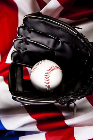 leather glove: Leather glove with baseball