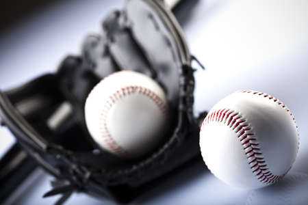 Leather glove with baseball photo
