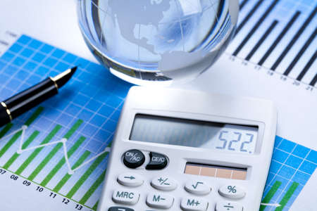 financial statement: Diagram and calculator Stock Photo