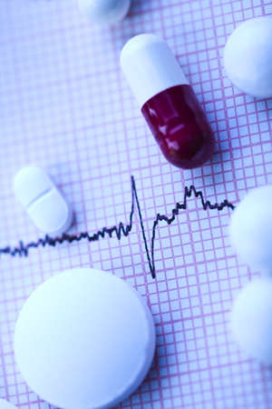 pharmacologist: Ekg, drugs, medicines, tablets, pills  Stock Photo