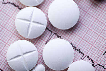 Ekg, drugs, medicines, tablets, pills  Stock Photo