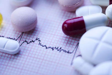 pharmacology: Ekg, drugs, medicines, tablets, pills  Stock Photo
