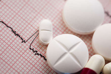 pharmacologist: Ekg, drugs, medicines, tablets, pills  Stock Photo