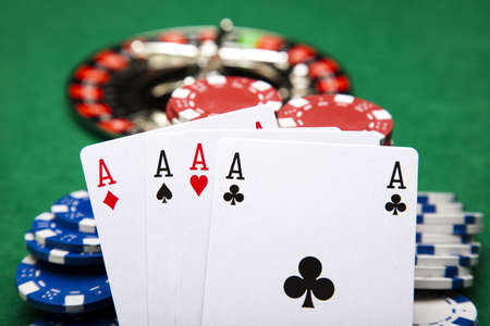 Playing cards in casino photo