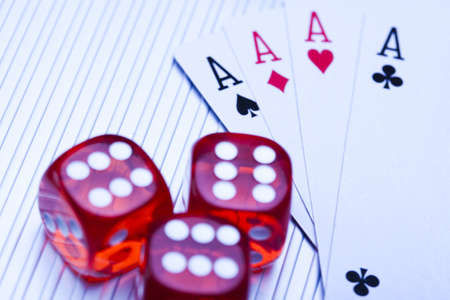 Dice on cards in casino photo