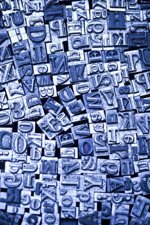 printing block: A selection of random letterpress type characters - typography Stock Photo