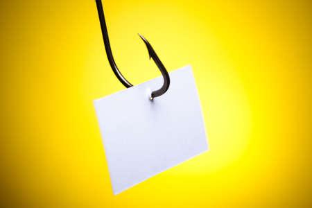 fish hook: Blank paper on hook Stock Photo