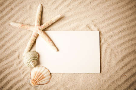 Summer paper letter with shell Stock Photo - 7385538